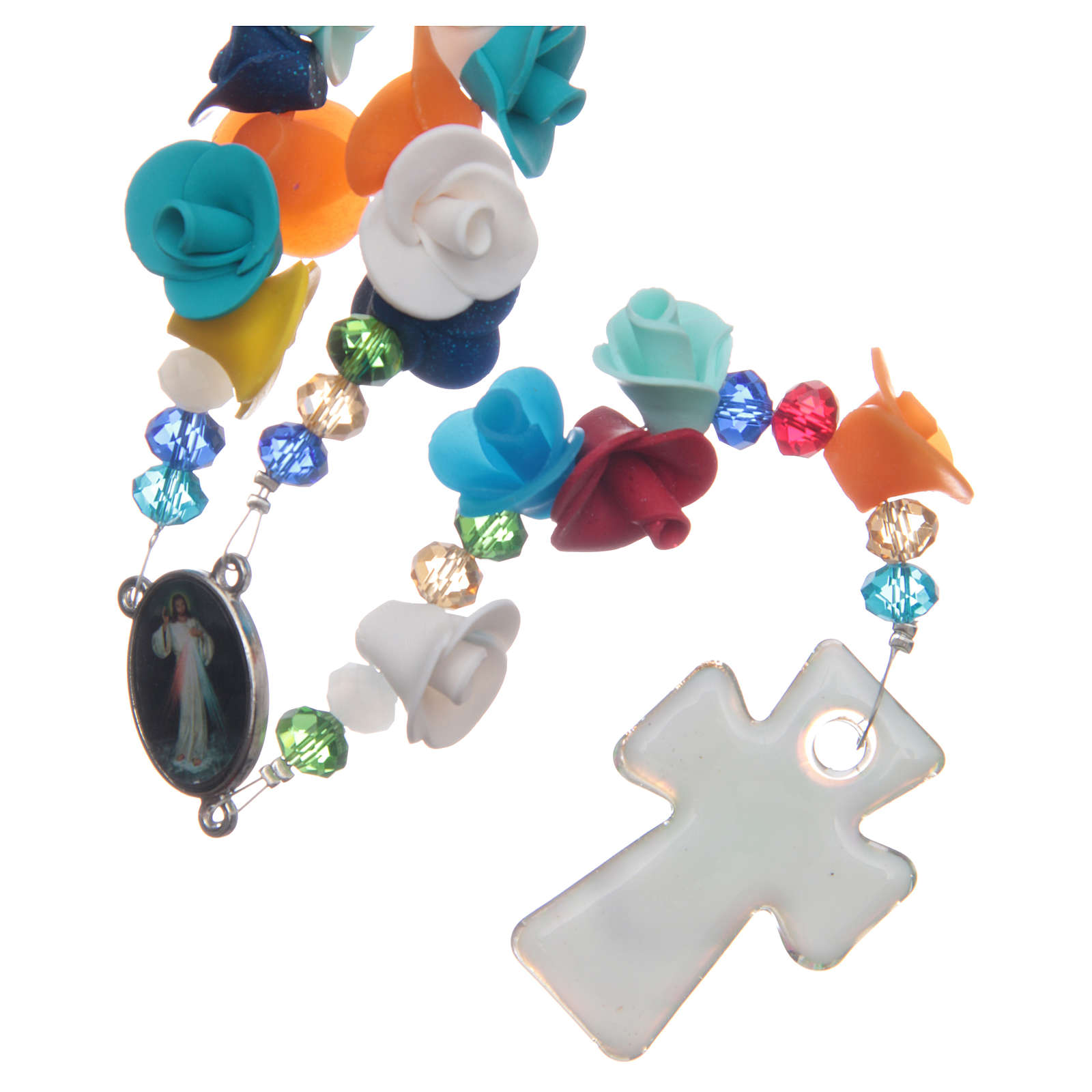 Medjugorje rosary with cross in Murano glass and roses in multicoloured paste 4