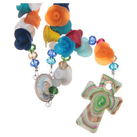 Medjugorje rosary with cross in Murano glass and roses in multicoloured paste s1