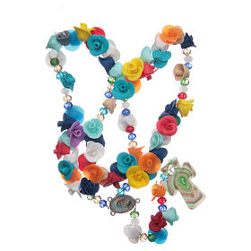 Medjugorje rosary with cross in Murano glass and roses in multicoloured paste s4