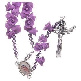 Chapelets et boîte chapelets: Chapelet Medjugorje roses lilas croix Ressucité