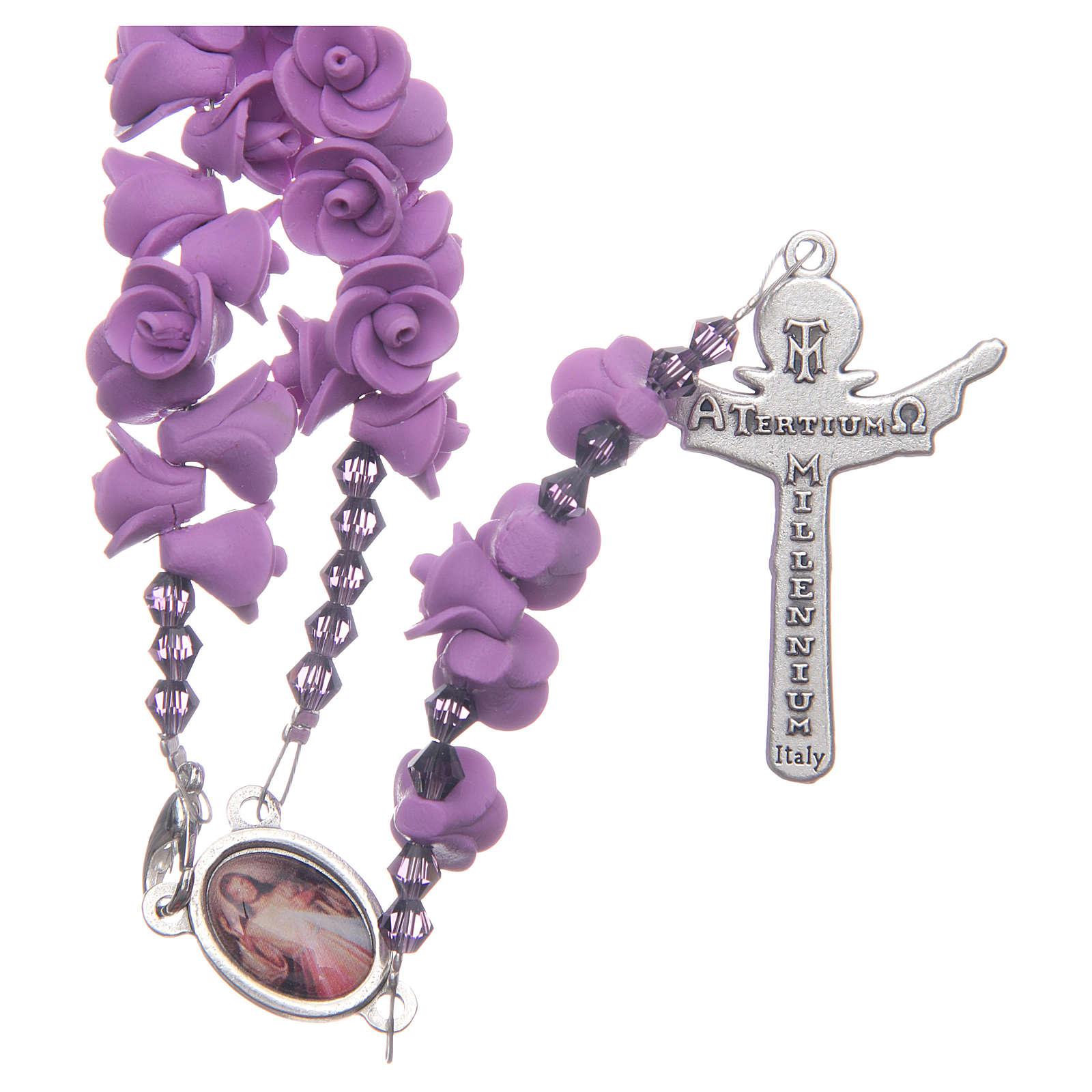Rosario Medjugorje rose lilla croce risorto 4