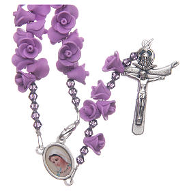 Medjugorje rosary with lilac roses resurrected Jesus s1