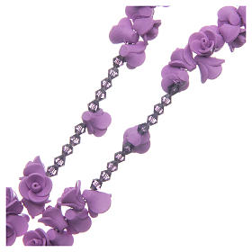 Medjugorje rosary with lilac roses resurrected Jesus s3
