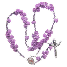 Medjugorje rosary with lilac roses resurrected Jesus s5
