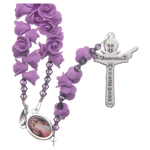 Medjugorje rosary with lilac roses resurrected Jesus 2