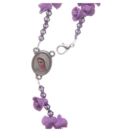Medjugorje rosary with lilac roses resurrected Jesus 4