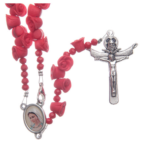 Medjugorje rosary with red roses resurrected Jesus 1