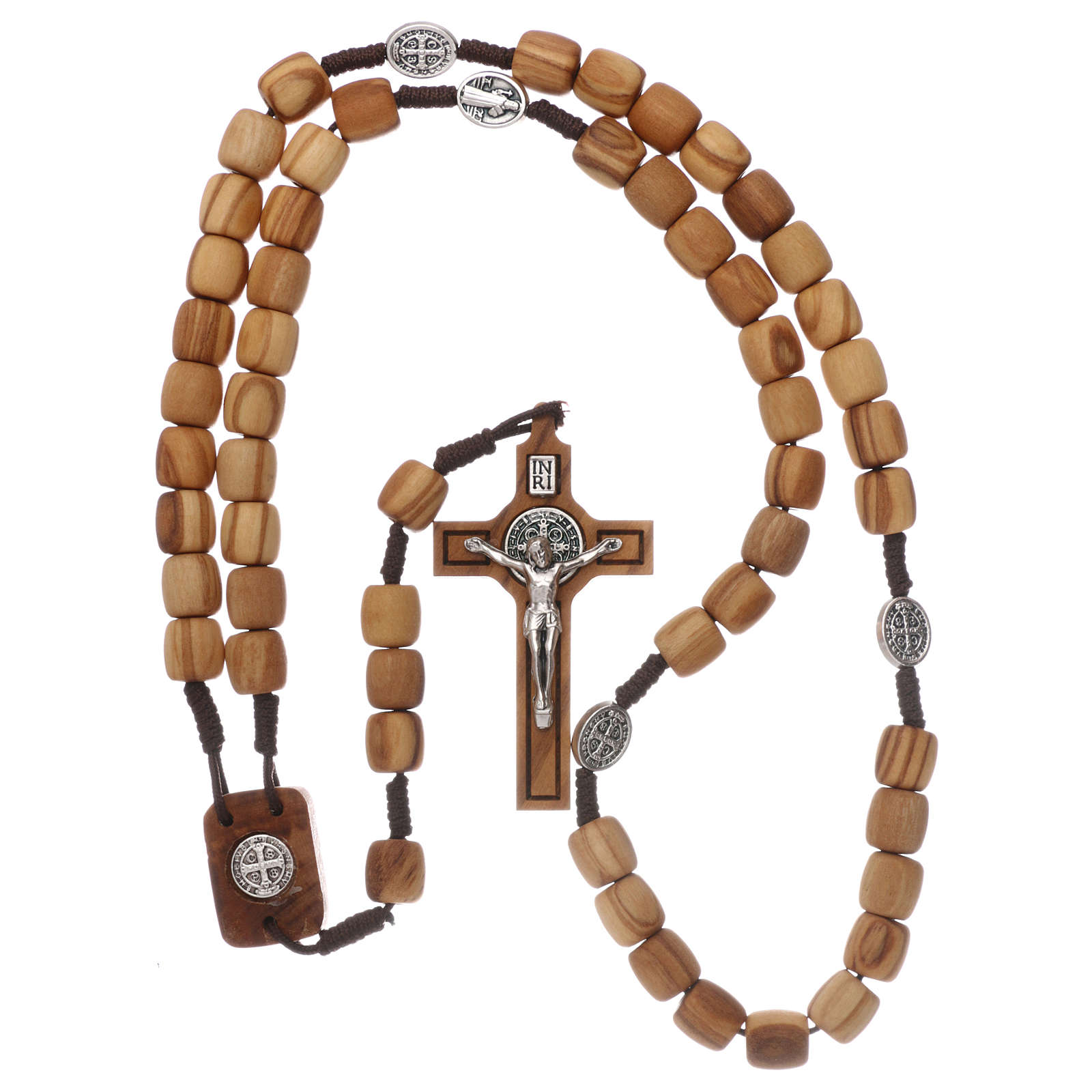 Medjugorje rosary with olive wood 10 mm cord and olive wood center piece 4