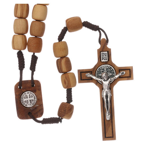 Medjugorje rosary with olive wood 10 mm cord and olive wood center piece 1