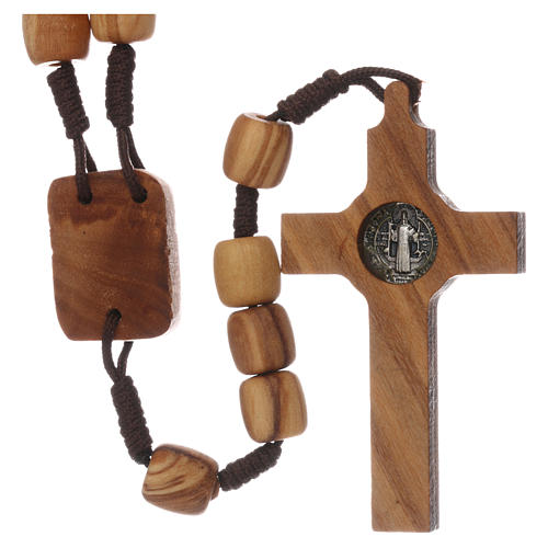 Medjugorje rosary with olive wood 10 mm cord and olive wood center piece 2