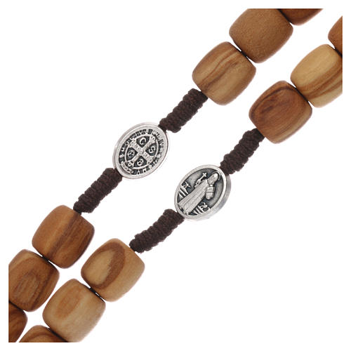 Medjugorje rosary with olive wood 10 mm cord and olive wood center piece 3