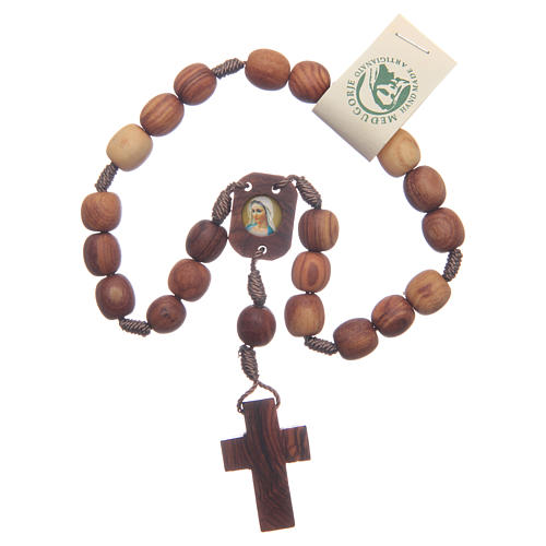 Medjugorje peace rosary beads in olive wood 1
