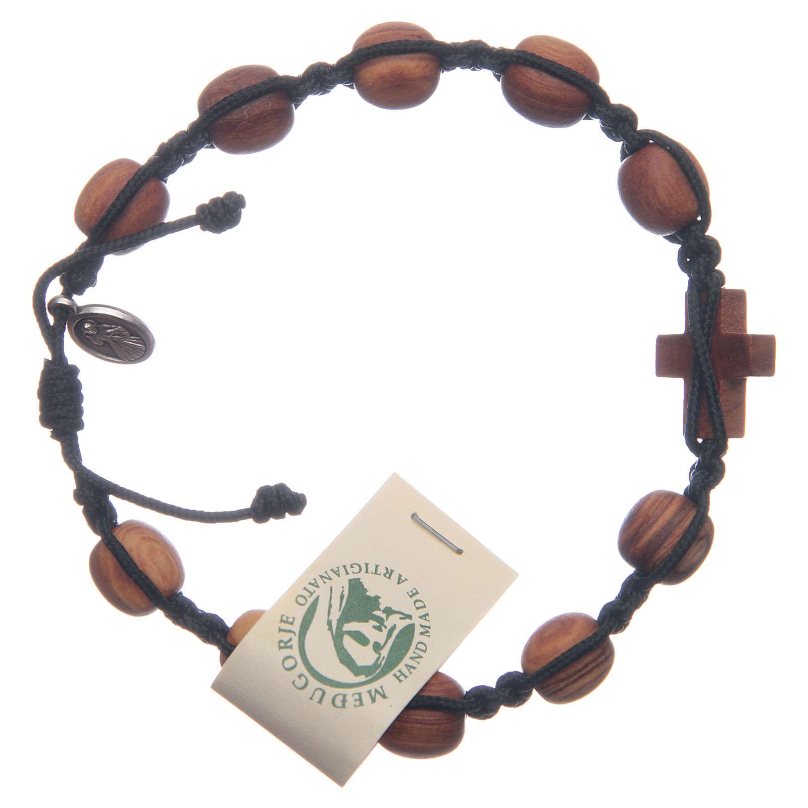 Medjugorje bracelet in olive wood and black cord 4