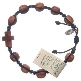 Bracelets, peace chaplets, one-decade rosaries: Medjugorje bracelet in olive wood and black cord