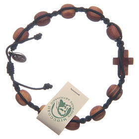 Medjugorje bracelet in olive wood and black cord s2
