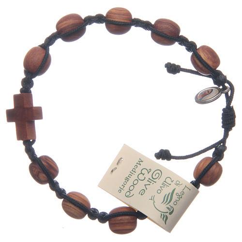 Medjugorje bracelet in olive wood and black cord 1