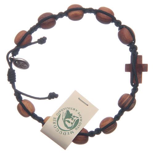 Medjugorje bracelet in olive wood and black cord 2