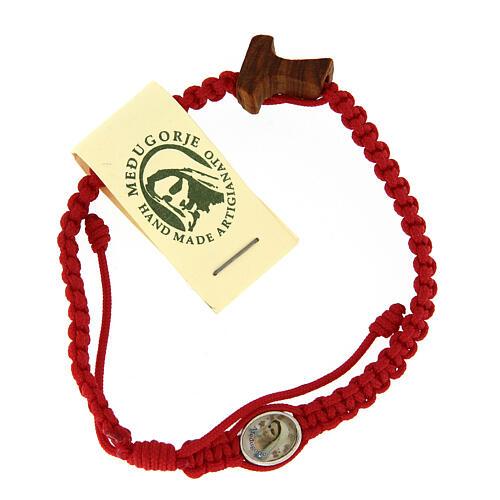Pulsera cuerda Medjugorje cruz madera olivo cuerda roja 1