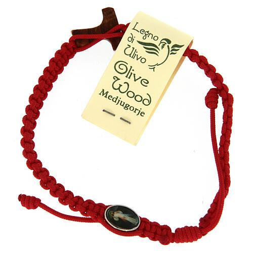 Bracelet Medjugorje croix olivier corde rouge 2