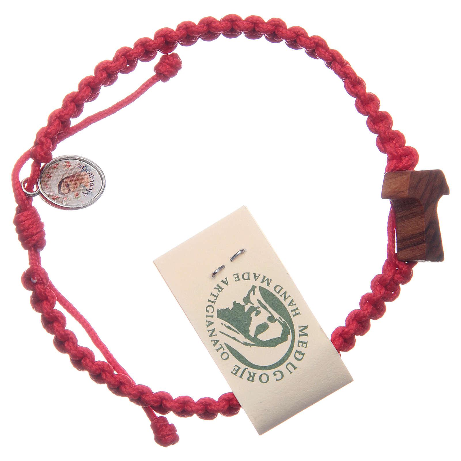 Bracciale corda Medjugorje croce ulivo corda rossa 4