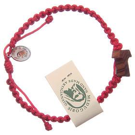 Bracciale corda Medjugorje croce ulivo corda rossa s1