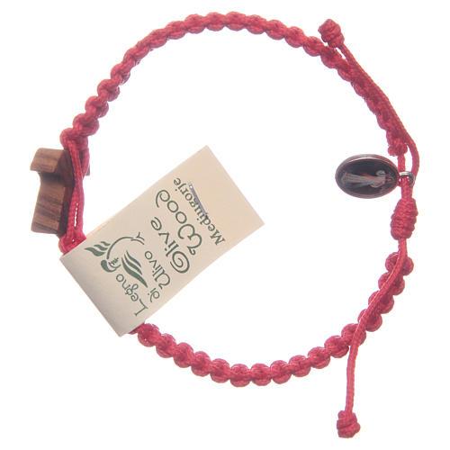 Bracciale corda Medjugorje croce ulivo corda rossa 2