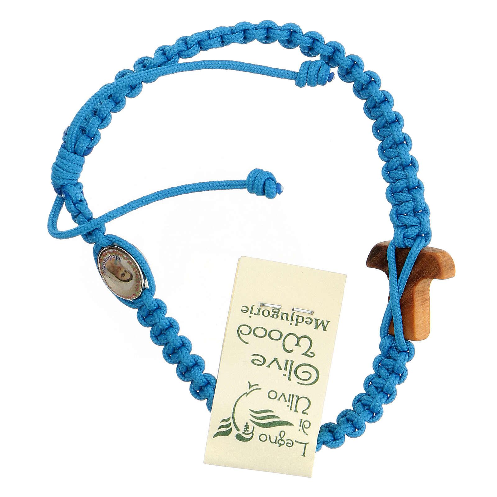 Pulsera cuerda Medjugorje cruz madera olivo cuerda azul claro 4