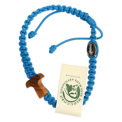 Pulsera cuerda Medjugorje cruz madera olivo cuerda azul claro 1