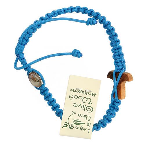 Pulsera cuerda Medjugorje cruz madera olivo cuerda azul claro 2