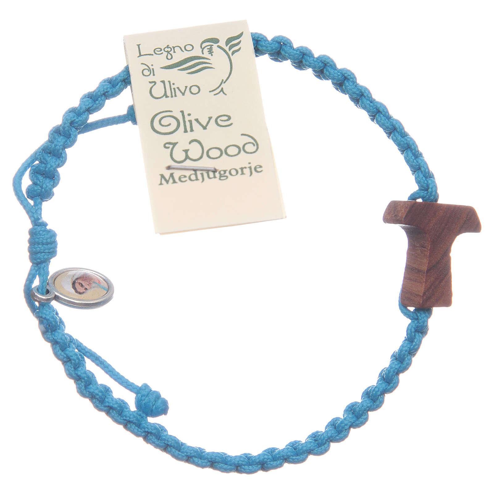 Bracciale corda Medjugorje croce ulivo corda azzurra 4