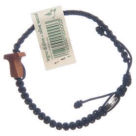 Bracelet Medjugorje croix olivier corde bleu nuit s2