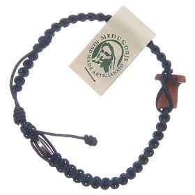 Bracelet Medjugorje croix olivier corde bleu nuit s3