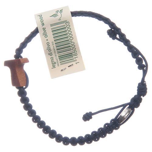 Bracelet Medjugorje croix olivier corde bleu nuit 1