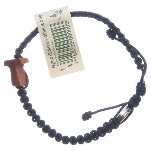 Bracelet Medjugorje croix olivier corde bleu nuit 2