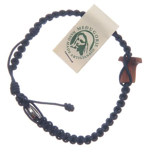 Bracelet Medjugorje croix olivier corde bleu nuit 3