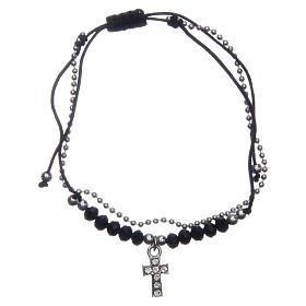 Bracelets, dizainiers: Bracelet Medjugorje corde cristaux noirs argentés