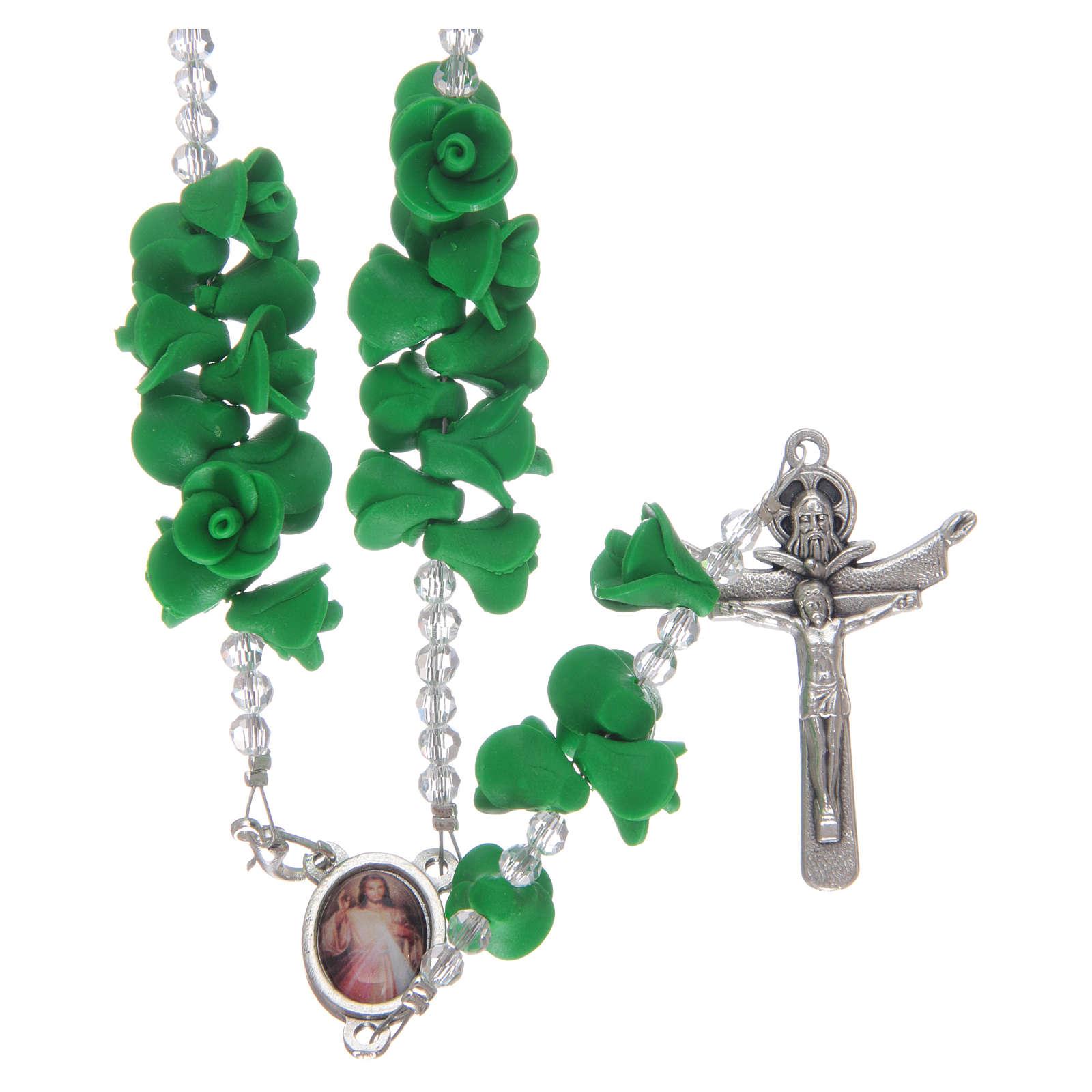 Chapelet avec roses en céramique verte et cristal 4