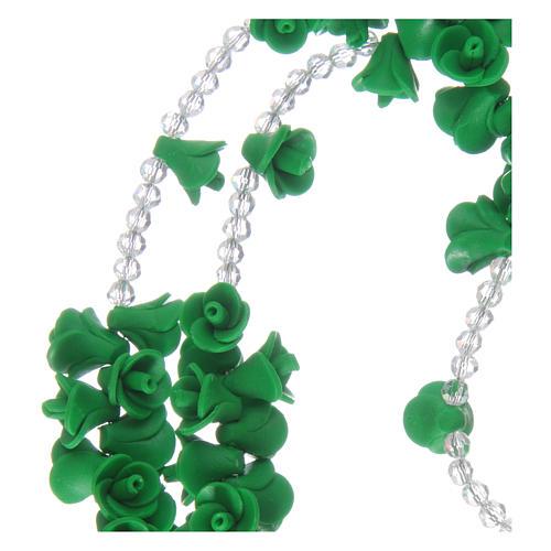 Chapelet avec roses en céramique verte et cristal 3