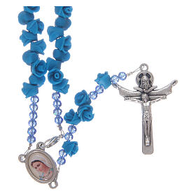 Chapelets et boîte chapelets: Chapelet roses en céramique bleue et cristal