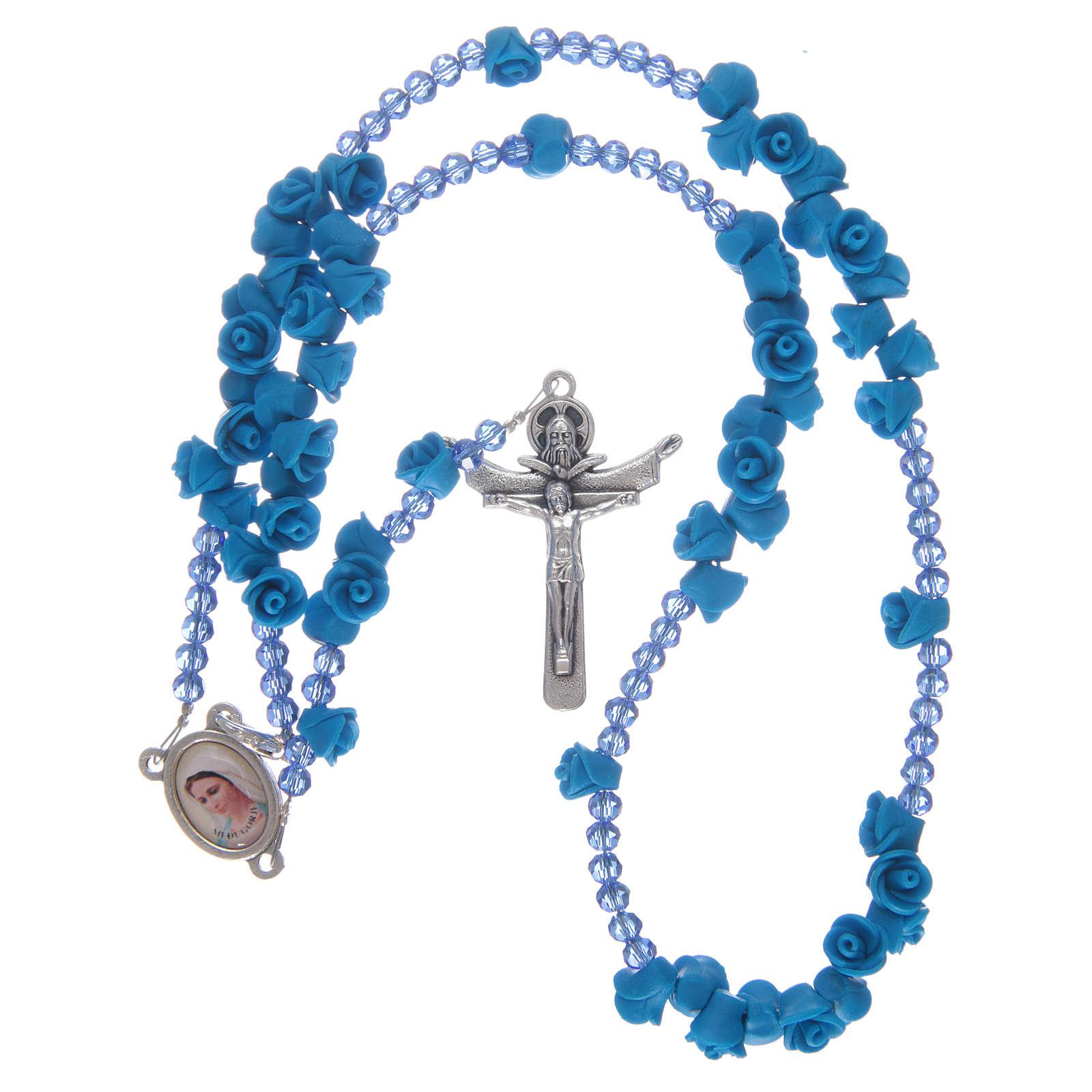 Rosario rose in ceramica blu e cristallo 4