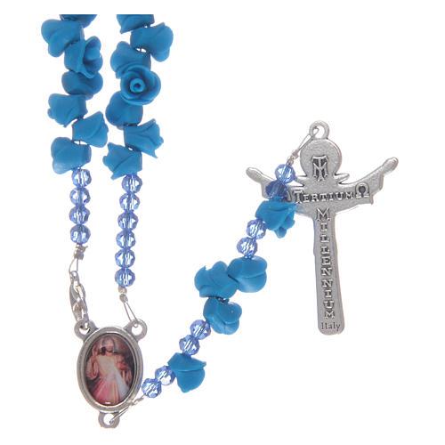 Rosario rose in ceramica blu e cristallo 2