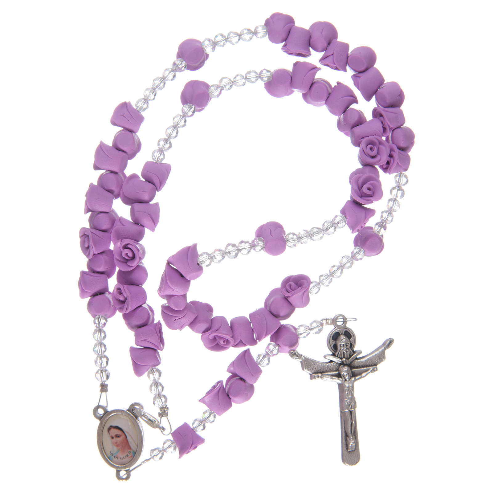 Rosario rosas de cerámica violeta y cristal 4