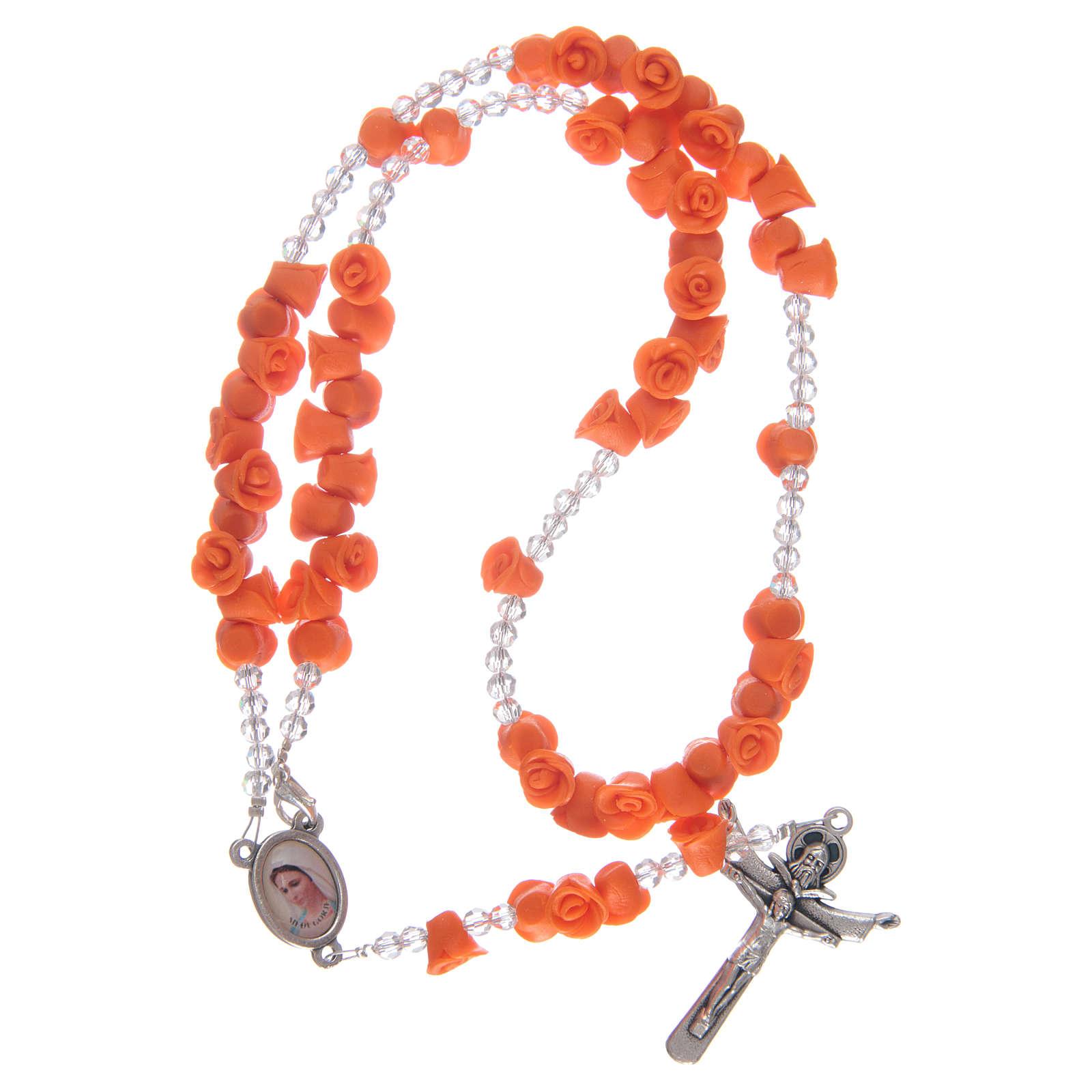 Rosario rose in ceramica arancio e cristallo 4