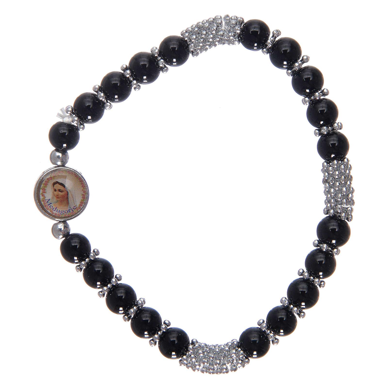Rosary bracelet in black crystal with spring 4