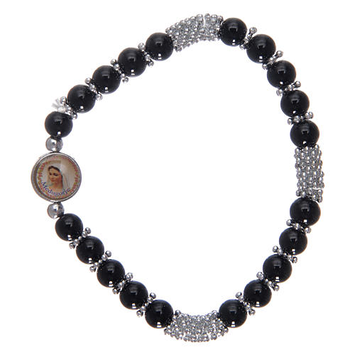 Pulsera rosario de cristal negro de muelle 1