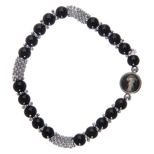 Pulsera rosario de cristal negro de muelle 2