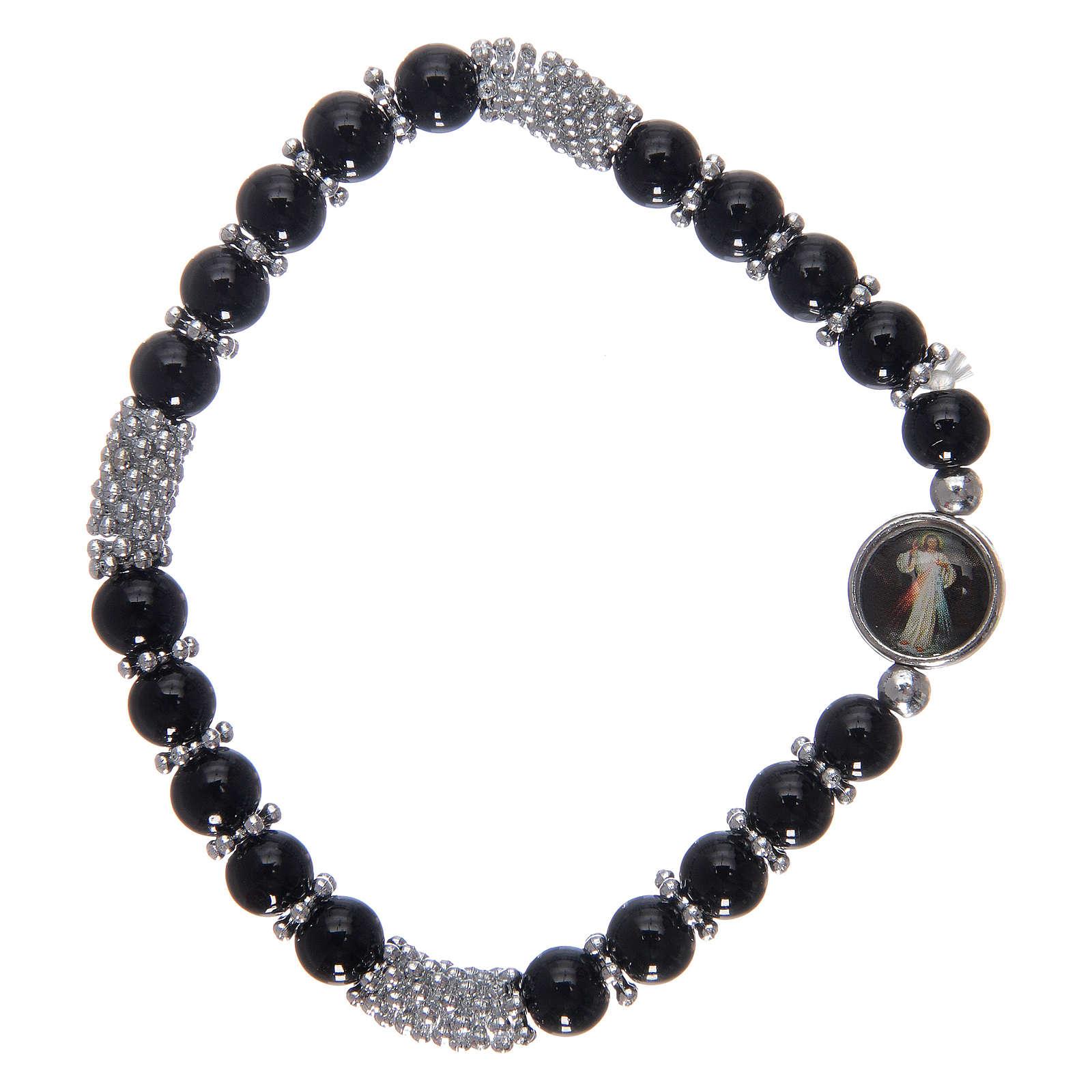 Bracciale rosario in cristallo nero a molla 4