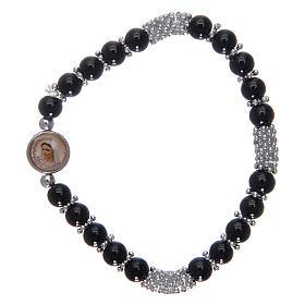 Bracciale rosario in cristallo nero a molla s1