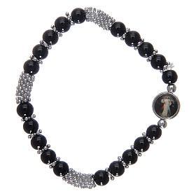 Bracciale rosario in cristallo nero a molla s2
