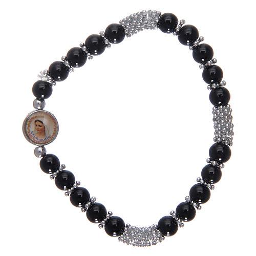 Bracciale rosario in cristallo nero a molla 1